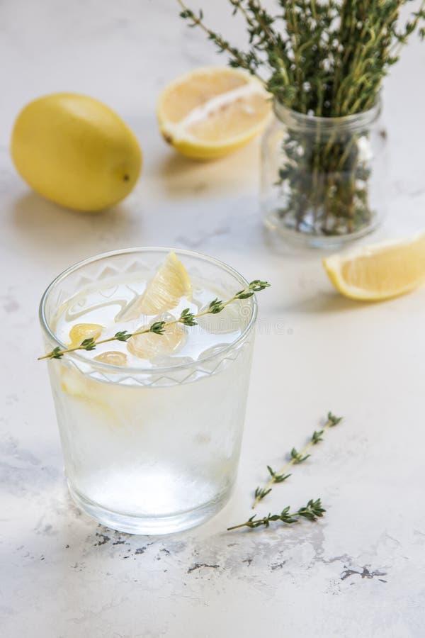Agua del Detox con el limón y el tomillo en vidrio fotos de archivo libres de regalías