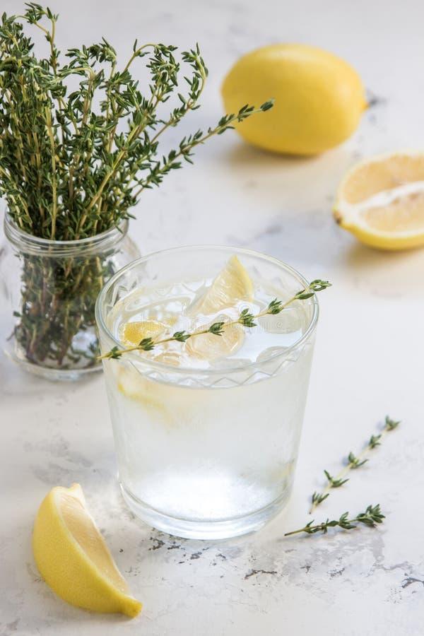 Agua del Detox con el limón y el tomillo en vidrio imágenes de archivo libres de regalías