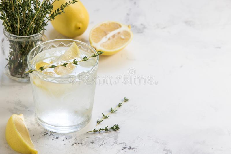 Agua del Detox con el limón y el tomillo en el vidrio, espacio de la copia fotos de archivo