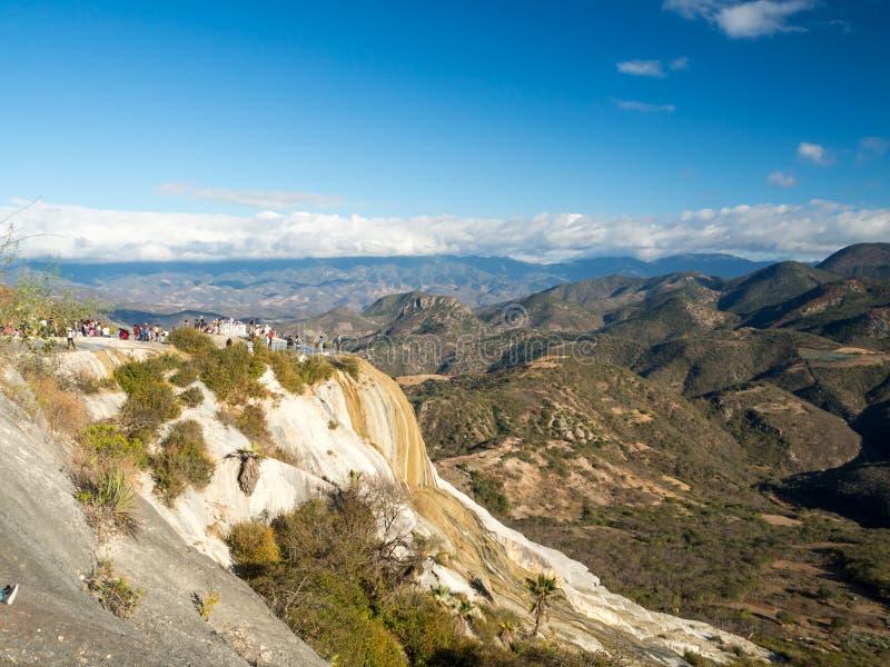 Agua del EL de Hierve, formación natural de la maravilla en la región de Oaxaca en México, cascada de las aguas termales en las m fotografía de archivo libre de regalías