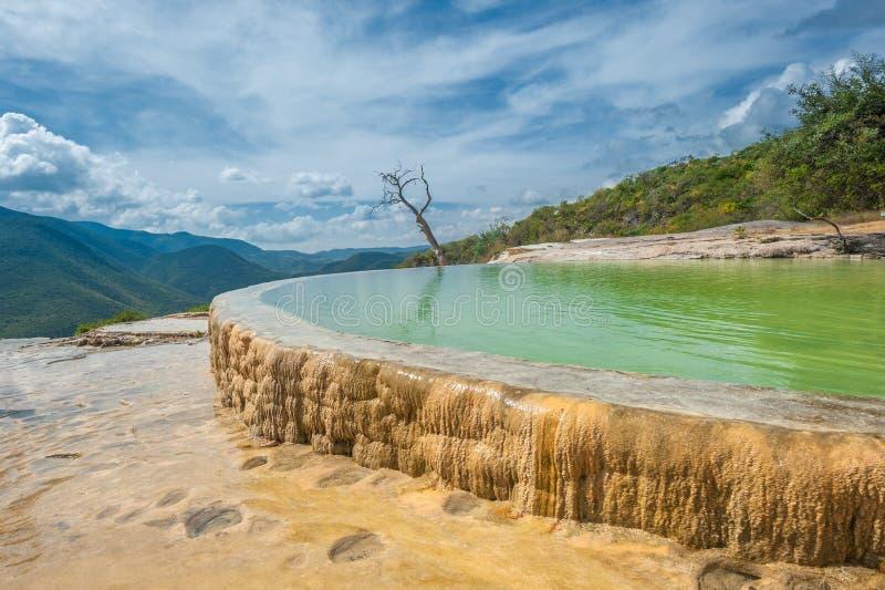Agua del EL de Hierve, formaciones de roca naturales en el estado mexicano de imágenes de archivo libres de regalías