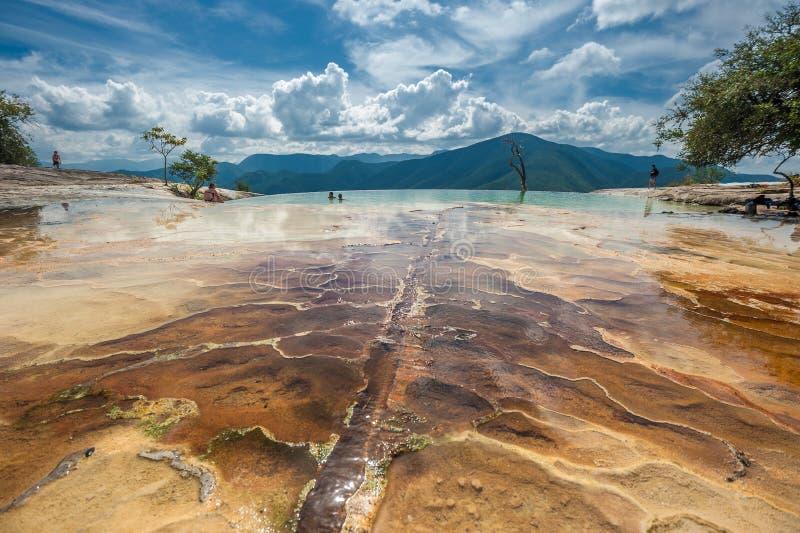 Agua del EL de Hierve, formaciones de roca naturales en el estado mexicano de fotos de archivo