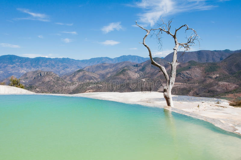 Agua del EL de Hierve, resorte termal, Oaxaca (México) fotografía de archivo