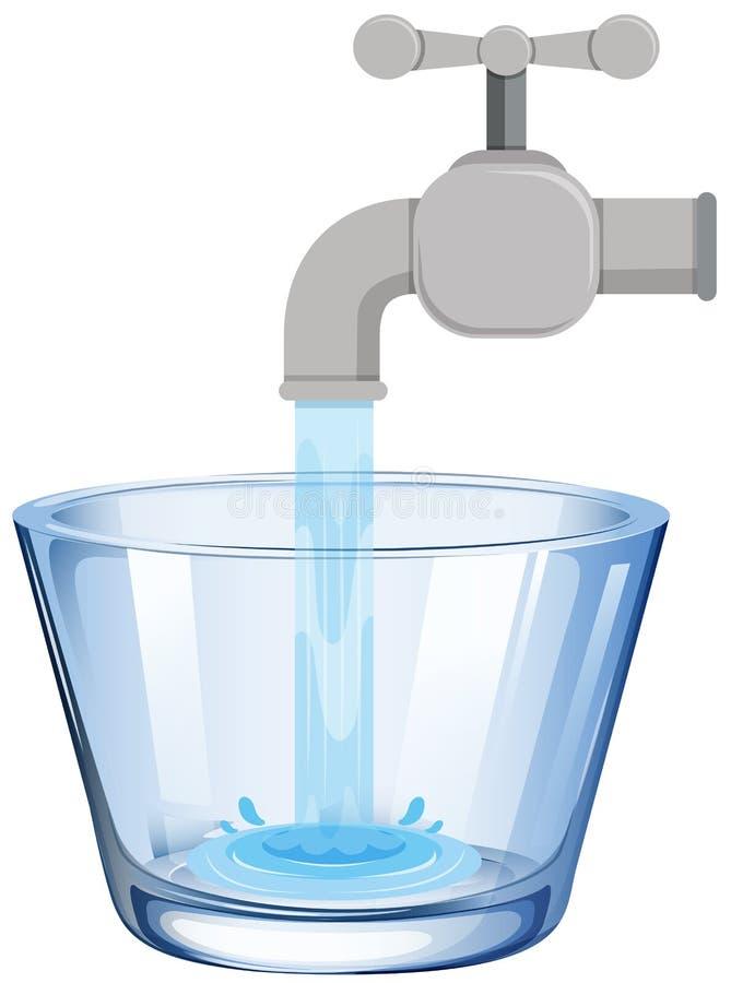 Agua del grifo en el vidrio stock de ilustración