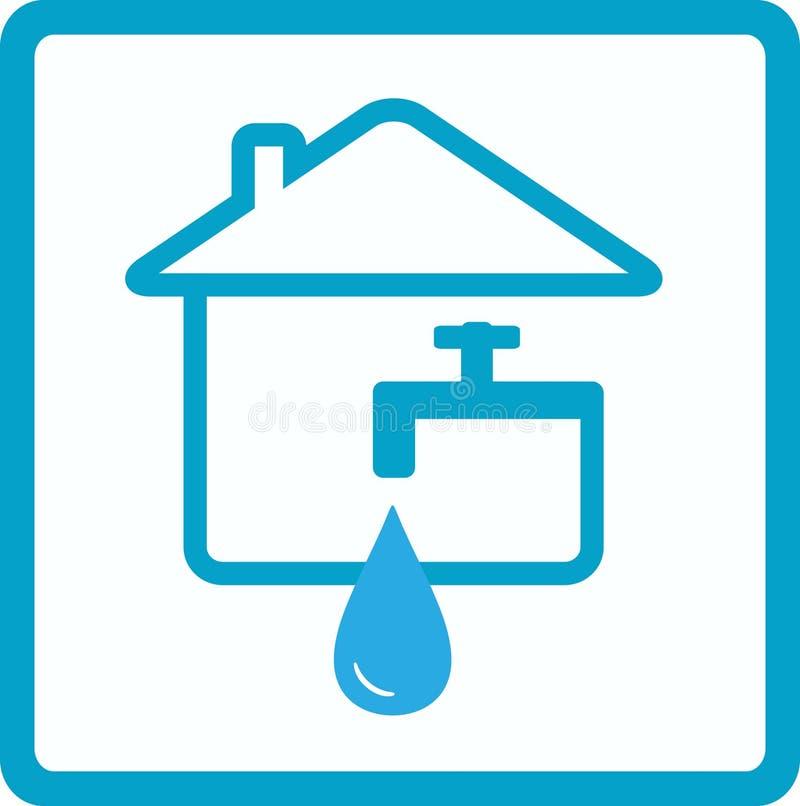 Agua en casa con la silueta del grifo stock de ilustración