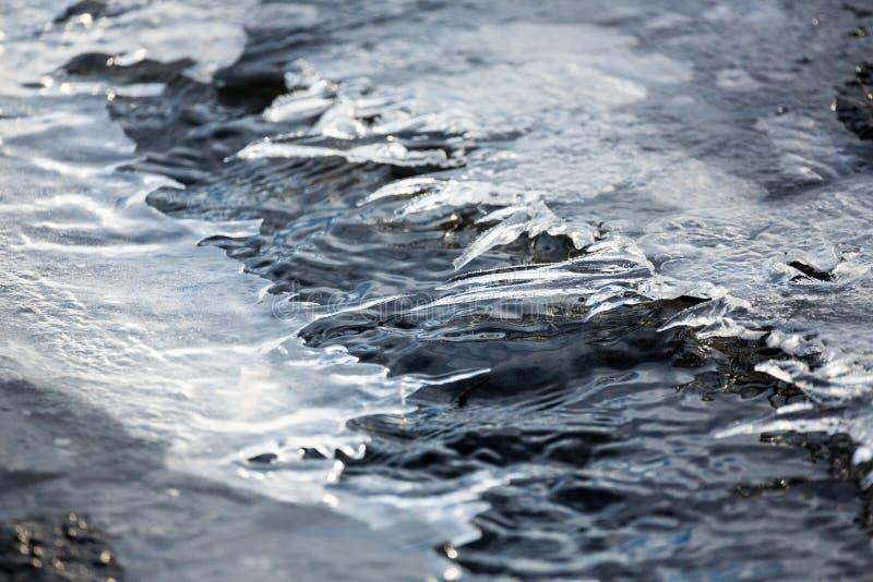 Agua en una cala que fluye debajo de los cascos de fusión del hielo foto de archivo libre de regalías