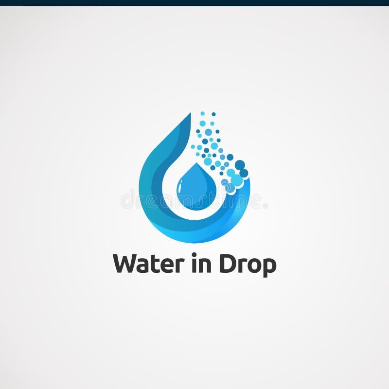 Agua en vector, concepto, icono, el elemento, y la plantilla del logotipo del descenso para el negocio libre illustration