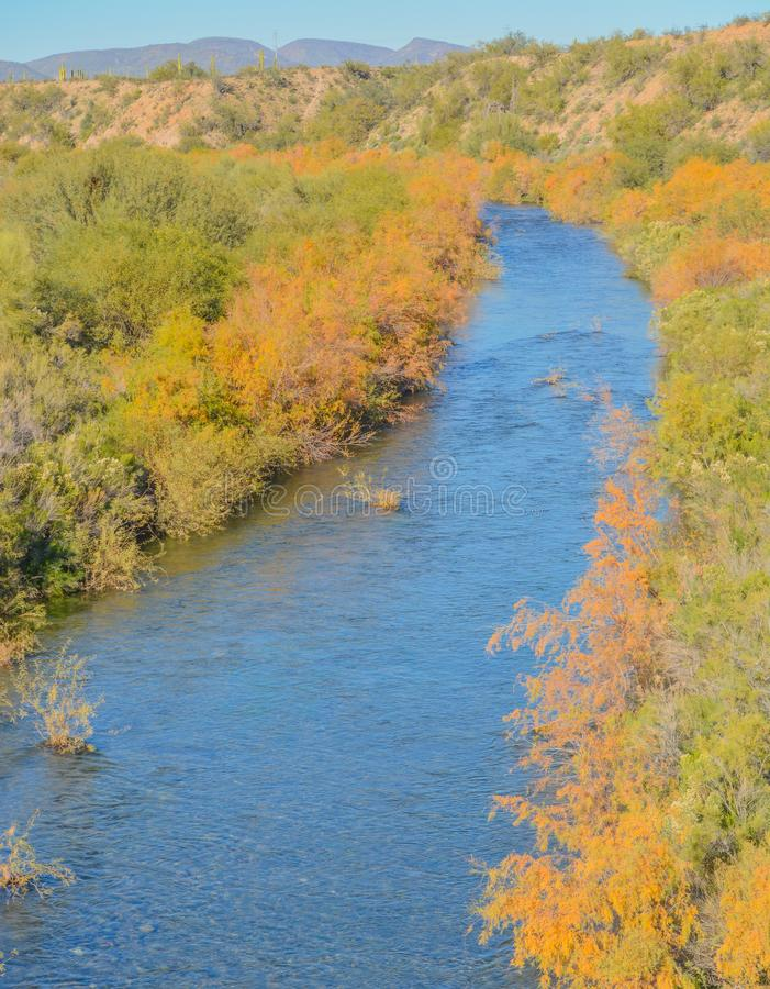 Agua Fria River in the southwest desert of Peoria, Maricopa County, Arizona USA.  stock photo