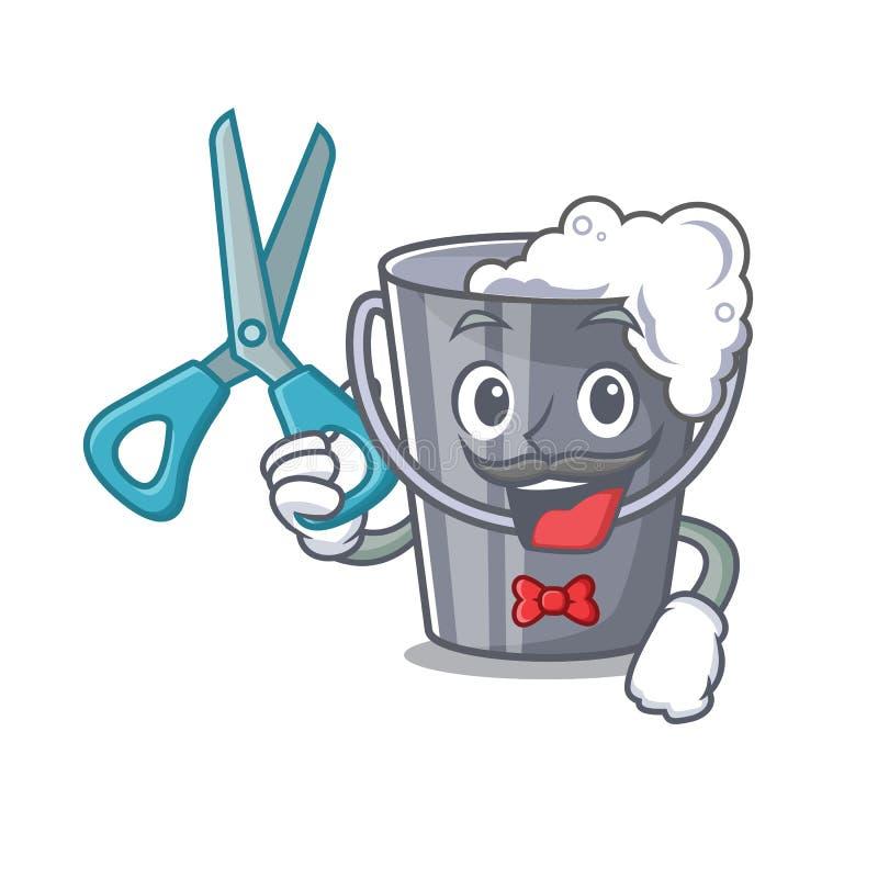Agua jabonosa del peluquero aislada con la mascota stock de ilustración