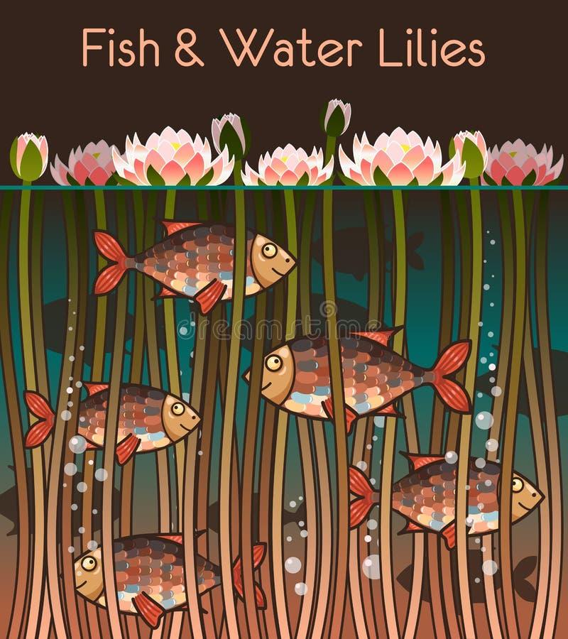 Agua lilly y los pescados ilustración del vector