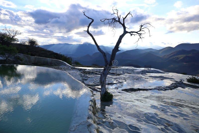 Agua minéral thermique d'EL de Hierve de ressort photo stock