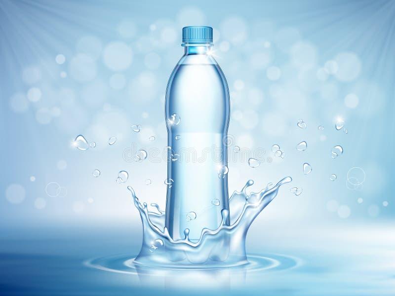 Agua mineral pura, botella plástica en el centro y elementos del descenso del agua que vuelan en fondo azul ilustración del vector