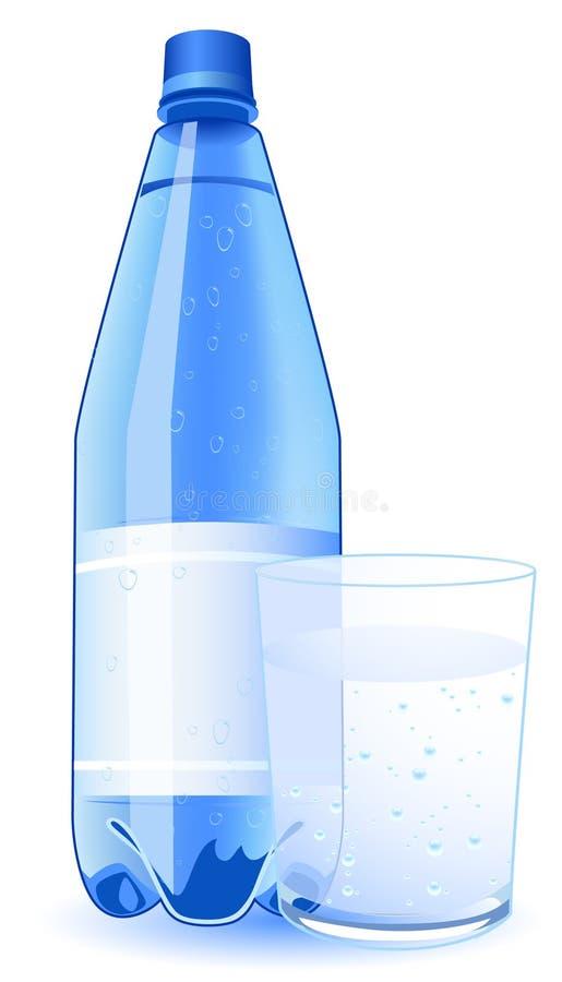 Agua mineral y vidrio ilustración del vector