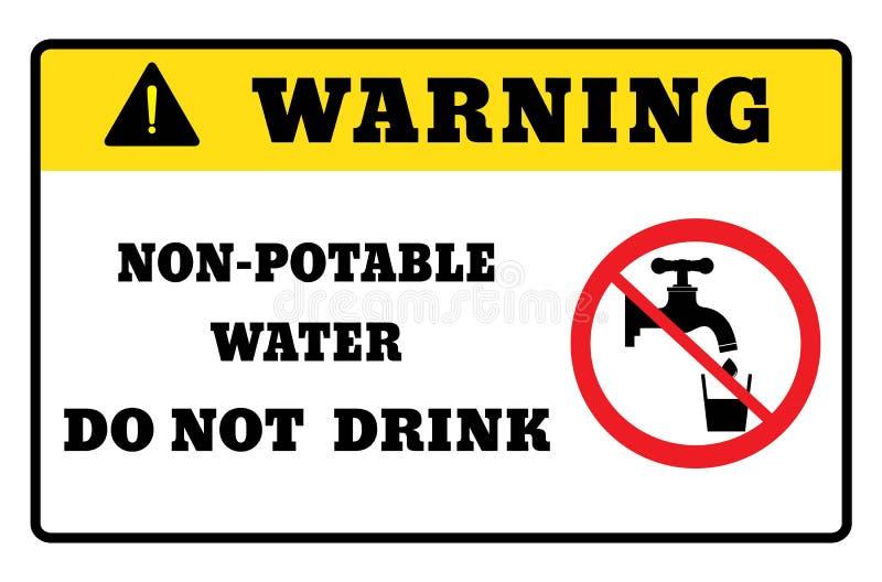 agua No-potable dibujo de la señal de peligro por el ejemplo ilustración del vector