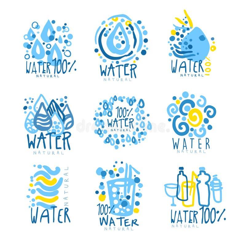 Agua o aguamarina fijada para el diseño del logotipo Bebidas orgánicas, naturales y sanas Ejemplos dibujados mano colorida ilustración del vector