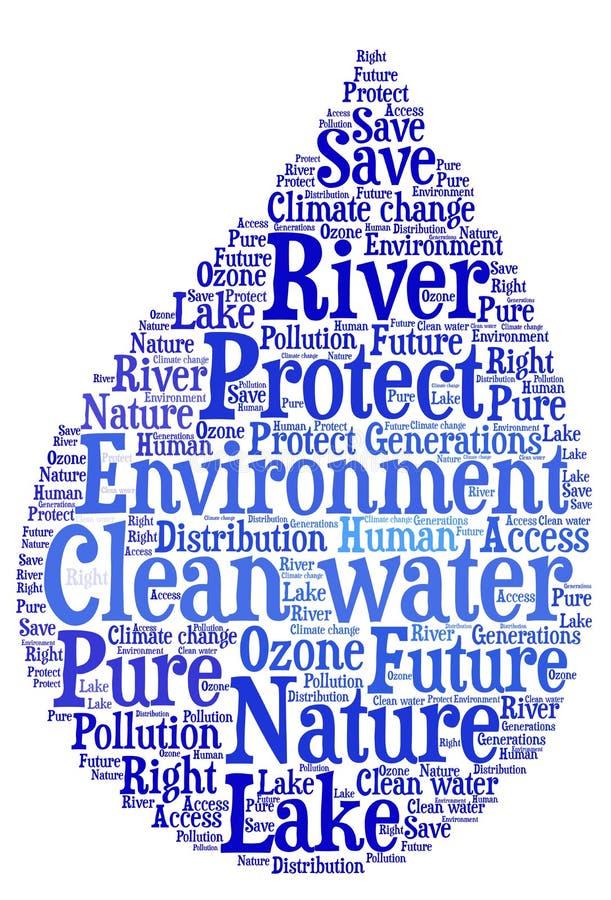 Agua potável - proteção ambiental e preservação da água ilustração stock