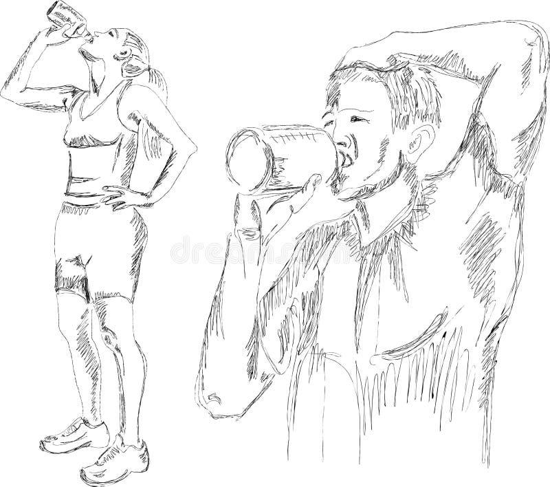 Agua potable atlética de la muchacha y del muchacho después de exercis ilustración del vector