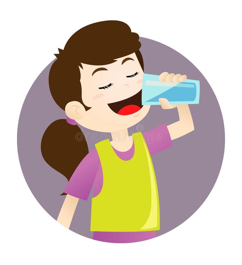 Agua potable de la muchacha stock de ilustración