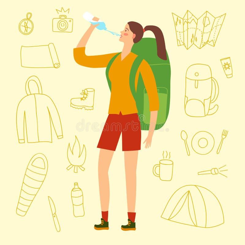 Agua potable de la muchacha del viajero ilustración del vector