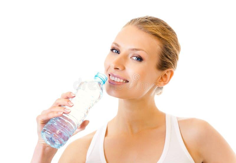 Agua potable de la mujer foto de archivo libre de regalías