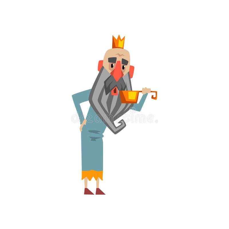 Agua potable del carácter divertido del rey del ejemplo de oro del vector de la historieta del cubo libre illustration