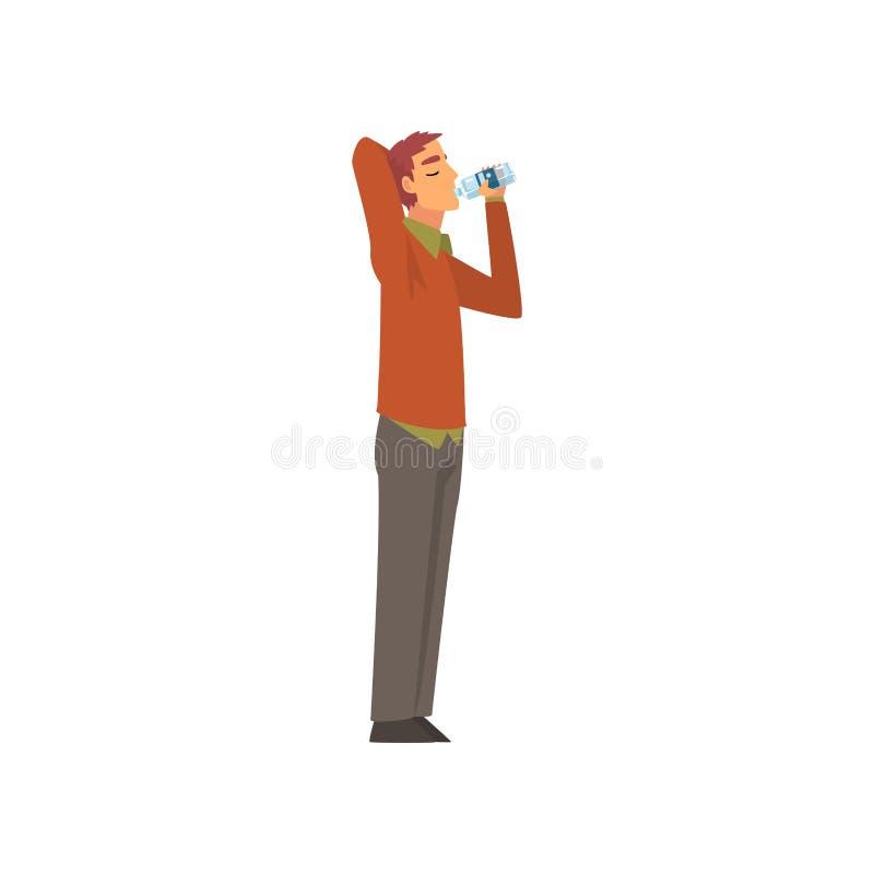 Agua potable del hombre joven de la botella plástica, Guy Enjoying Drinking del ejemplo fresco del vector del agua potable libre illustration