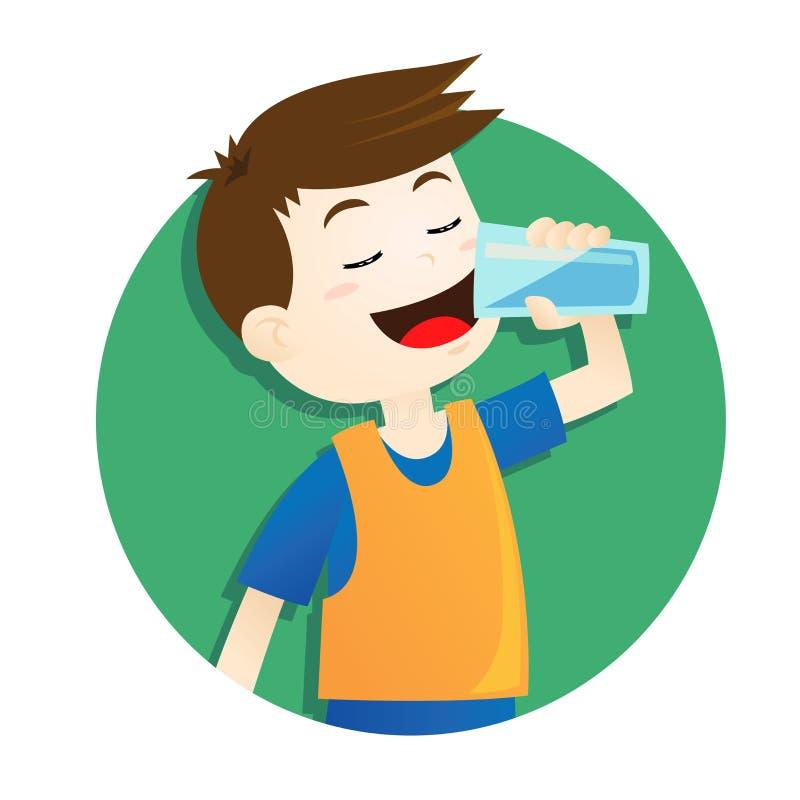 Agua potable del muchacho ilustración del vector