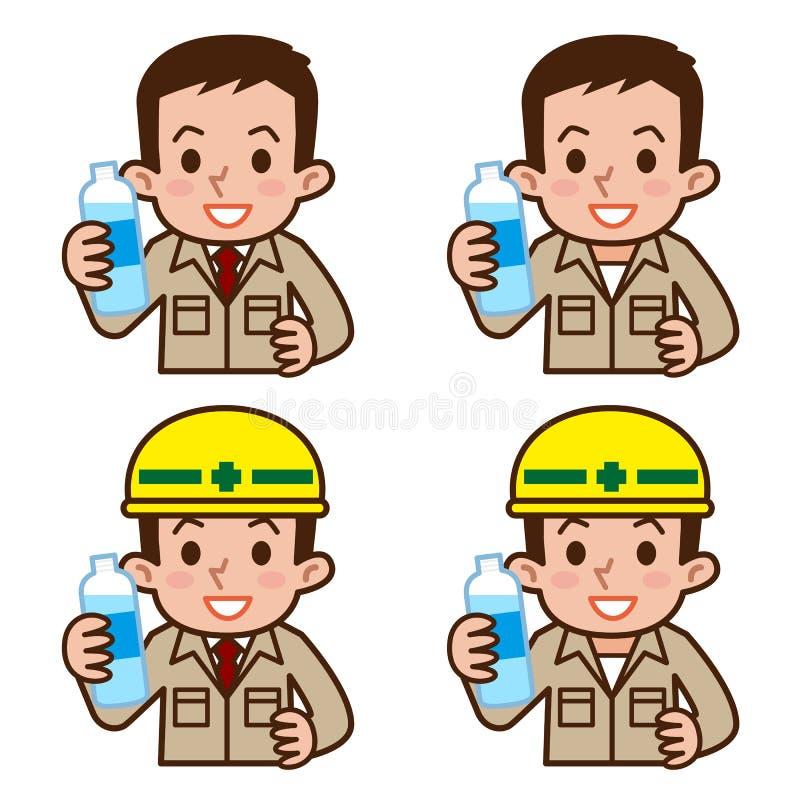 Agua potable del trabajador ilustración del vector