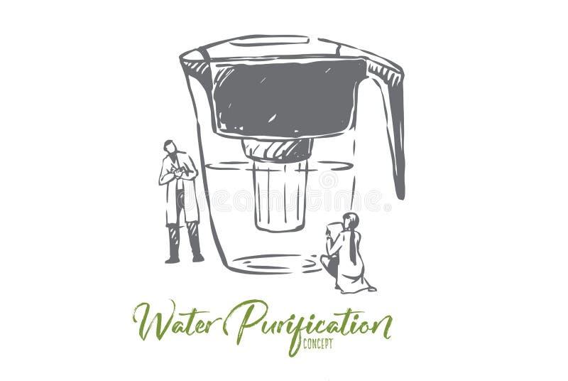 Agua, purificada, botella, limpia, concepto de la filtración Vector aislado dibujado mano libre illustration