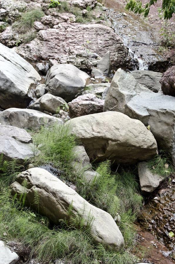 Agua que atraviesa una corriente rocosa fotografía de archivo