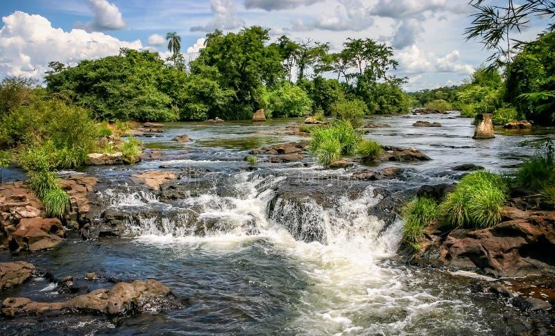 Agua que conecta en cascada durante las caídas de Iguacu imagenes de archivo