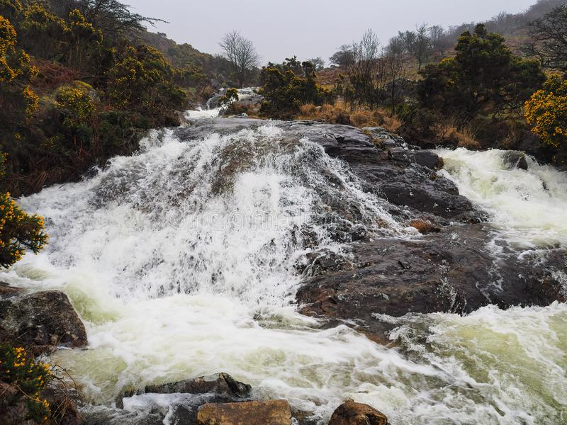 Agua que conecta en cascada sobre rocas el valle Rojo-uno-ven del arroyo, parque nacional de Dartmoor, Devon, Reino Unido foto de archivo libre de regalías