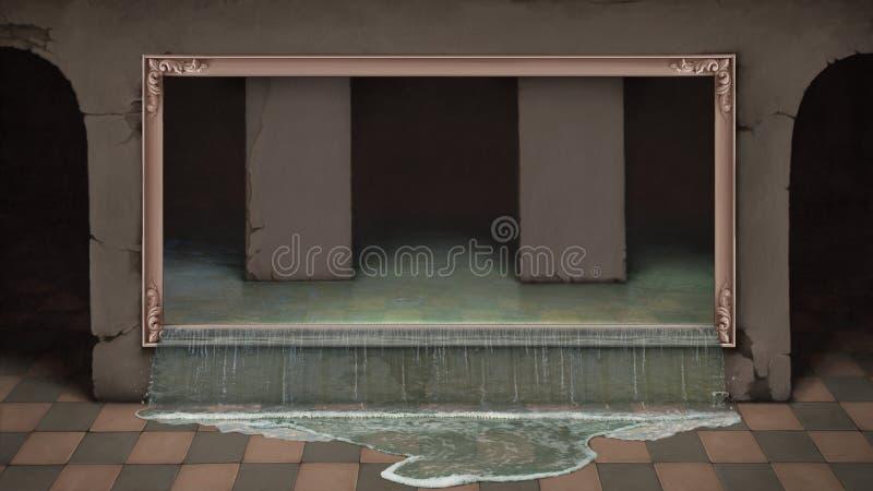 Agua que sale a raudales de cuadro stock de ilustración