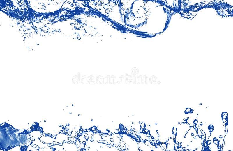 Agua que salpica azul abstracta como marco imagenes de archivo