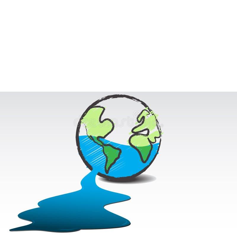 Agua que se escapa del planeta stock de ilustración