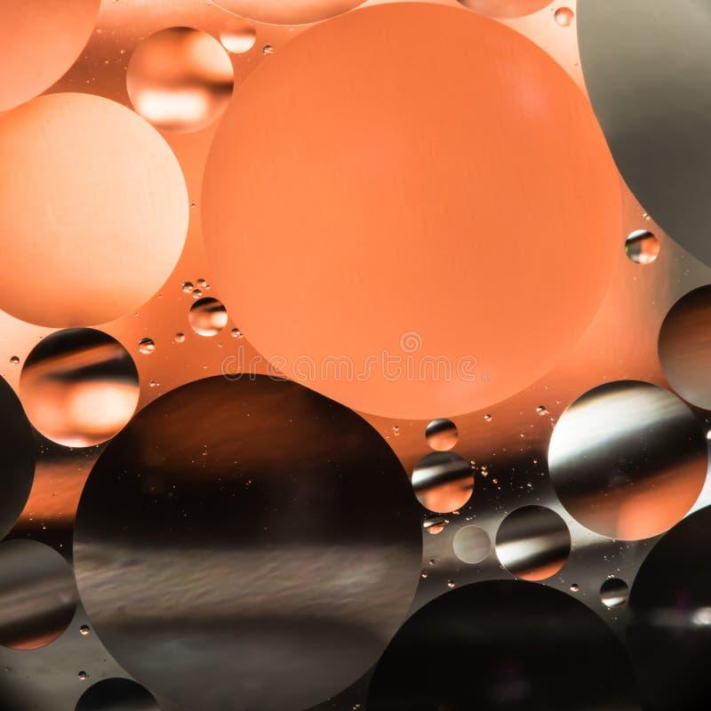 Agua y aceite, fondo hermoso del extracto del color basado en los círculos y los óvalos rojos y anaranjados, abstracción macra imagen de archivo