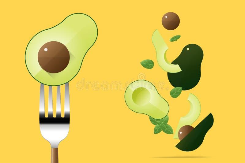 Aguacate fresco en la bifurcación con el fondo de los aguacates del vuelo, concepto sano de la comida stock de ilustración