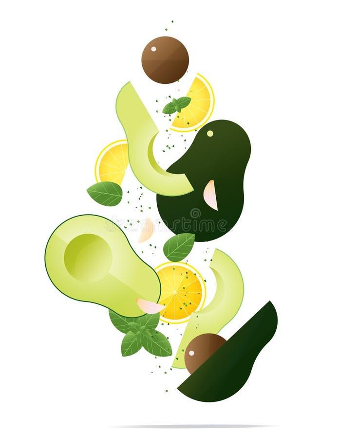 Aguacates frescos que vuelan y concepto de las especias, fondo sano de la comida ilustración del vector
