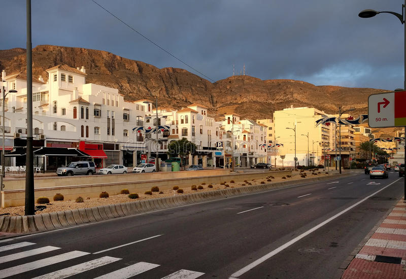 Aguadulce city road. Spain. Aguadulce city road. Aguadulce is a spanish locality of Roquetas de Mar, province of Almeria. Spain royalty free stock photo