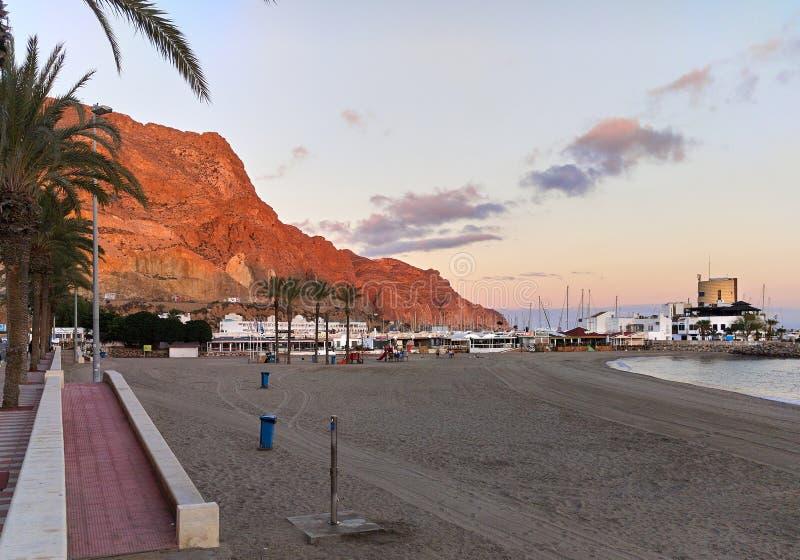 Aguadulce plaża przy zmierzchem fotografia royalty free