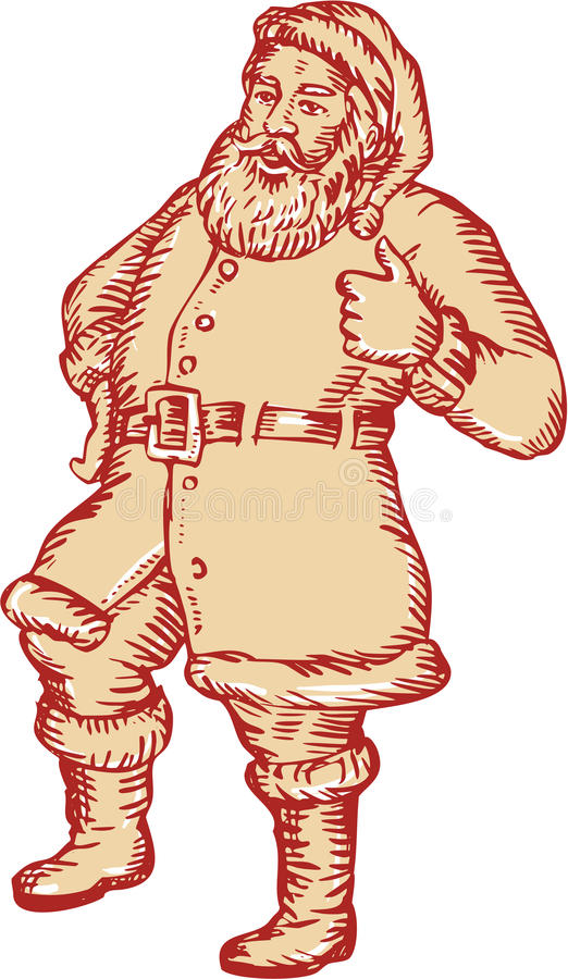 Aguafuerte de Santa Claus Father Christmas Thumbs Up ilustración del vector