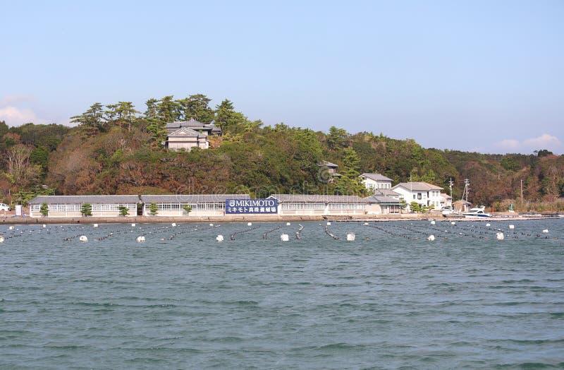 Aguamarina de la ostra que cultiva el cultivo en hace la bahía Shima Japan fotografía de archivo libre de regalías