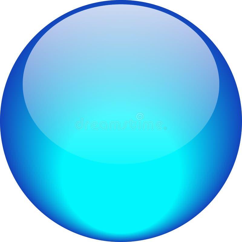 Aguamarina del botón de la web azul stock de ilustración