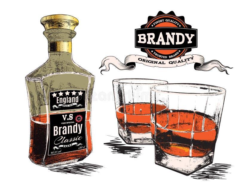 Aguardente em dois vidros e garrafas ilustração do vetor