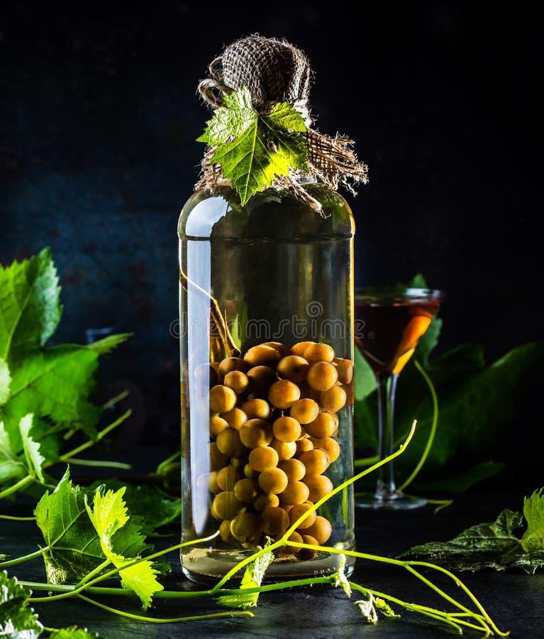 Aguardiente chileno da aguardente com grupo de uvas inteiro dentro da garrafa imagens de stock royalty free