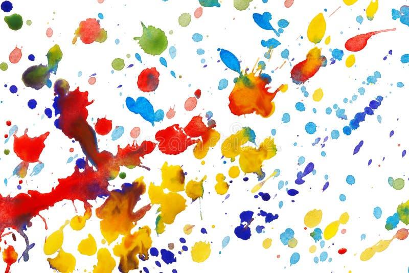 A aguarela colorida abstrata espirra fotos de stock