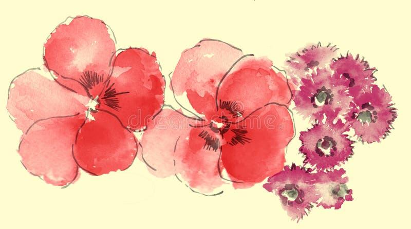 Aguarela de sakura e de margarida ilustração royalty free