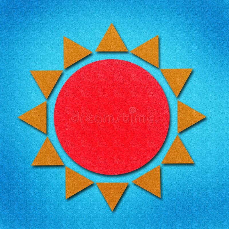 Aguarela de Sun no papel ilustração stock