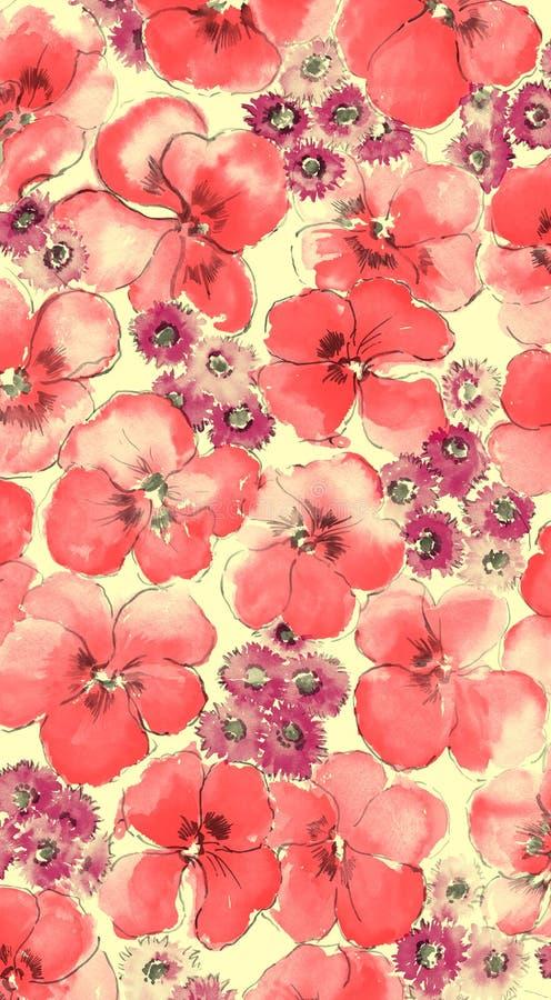 Aguarela do fundo floral vermelho ilustração royalty free