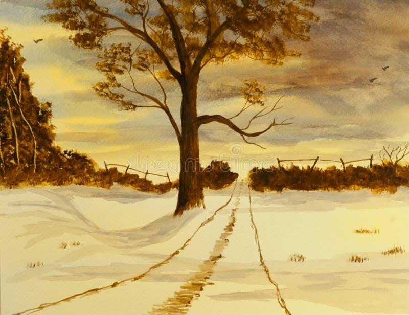 Aguarela do inverno ilustração do vetor